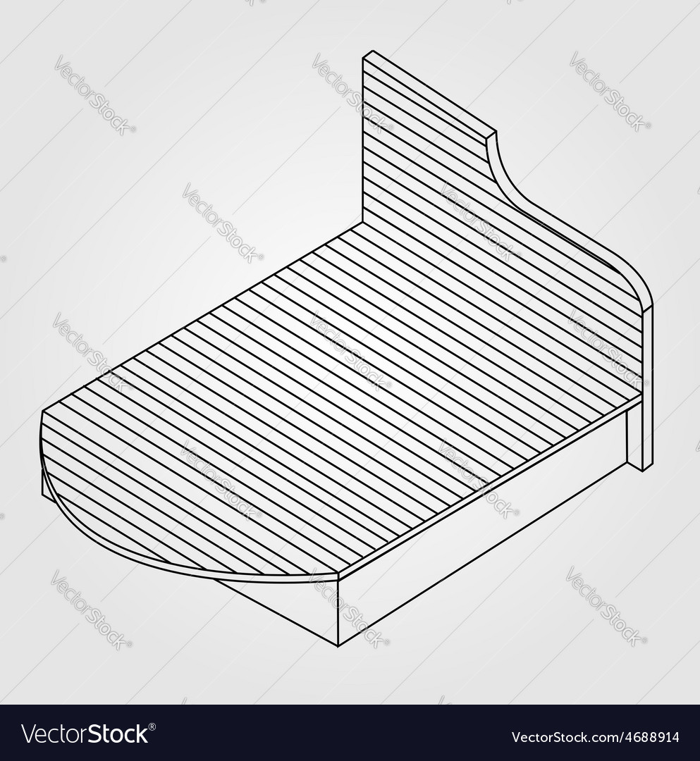 3d view of a wooden bed furniture drawing vector | Price: 1 Credit (USD $1)