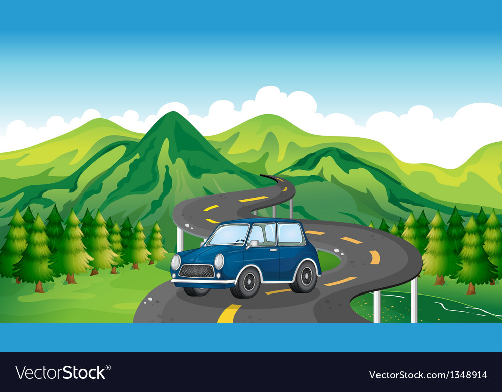 A blue car and the winding road vector | Price: 1 Credit (USD $1)