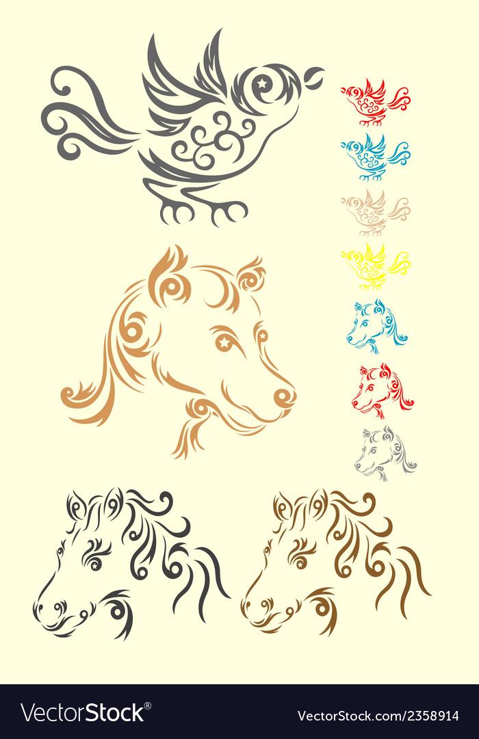Animal set tribal vector | Price: 1 Credit (USD $1)