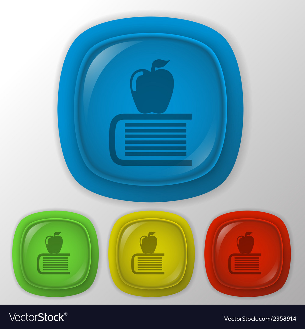Books tower with apple icon vector | Price: 1 Credit (USD $1)