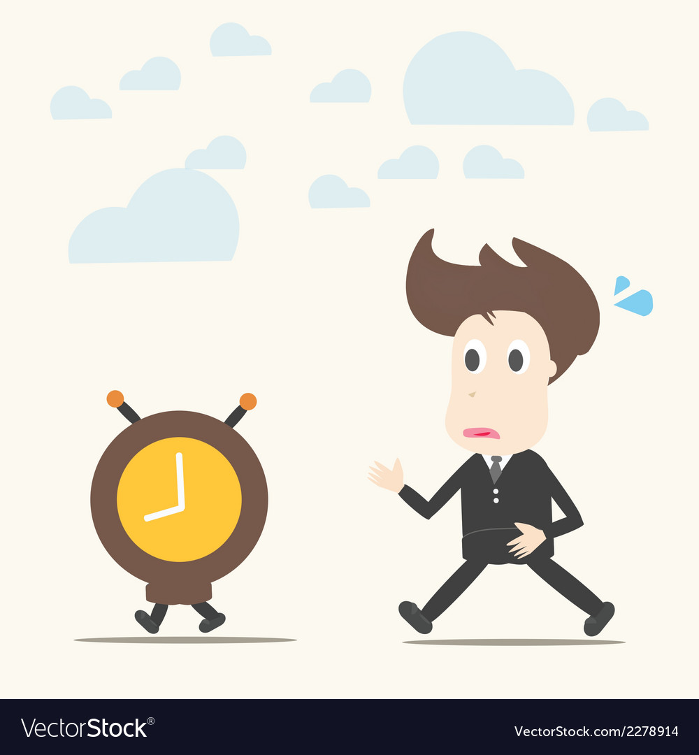 Business man follow the clock vector | Price: 1 Credit (USD $1)