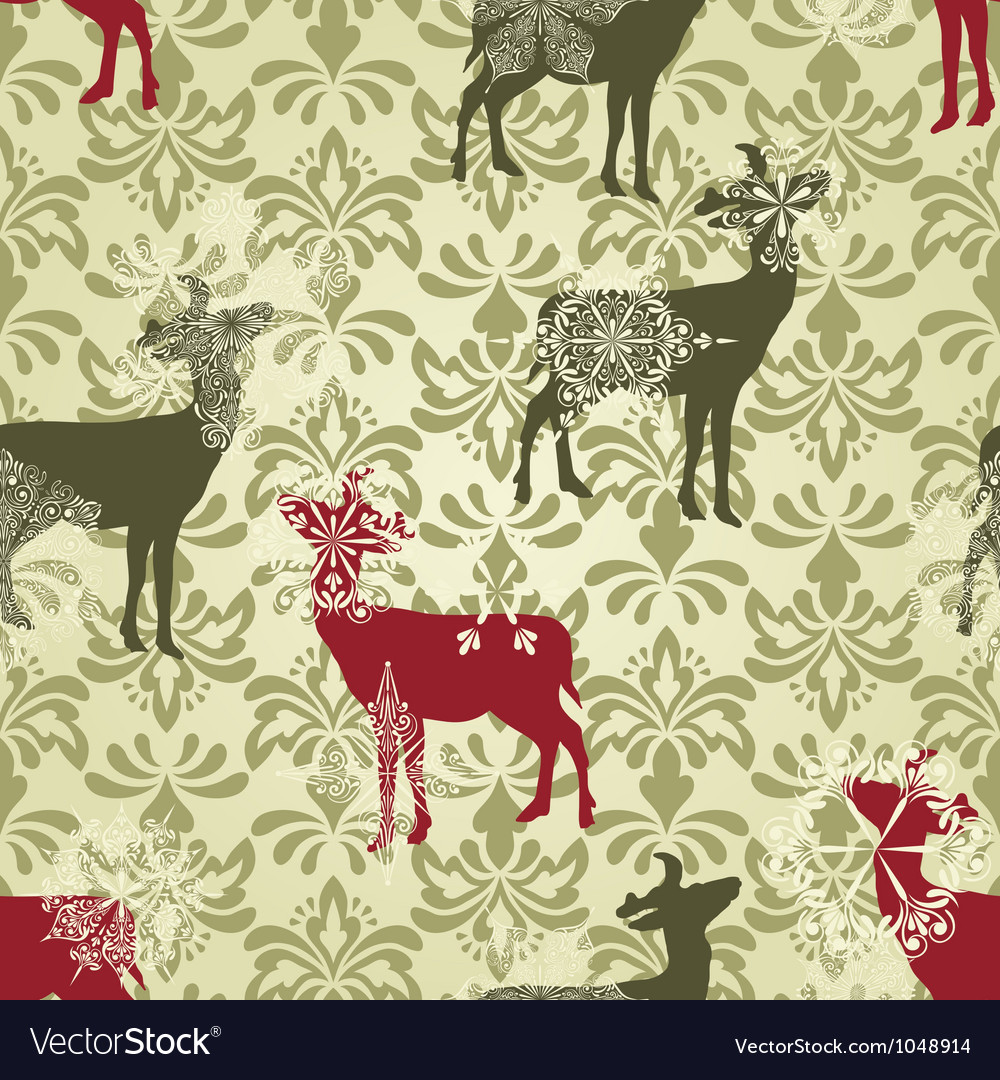 Christmas seamless vintage wallpaper vector | Price: 1 Credit (USD $1)