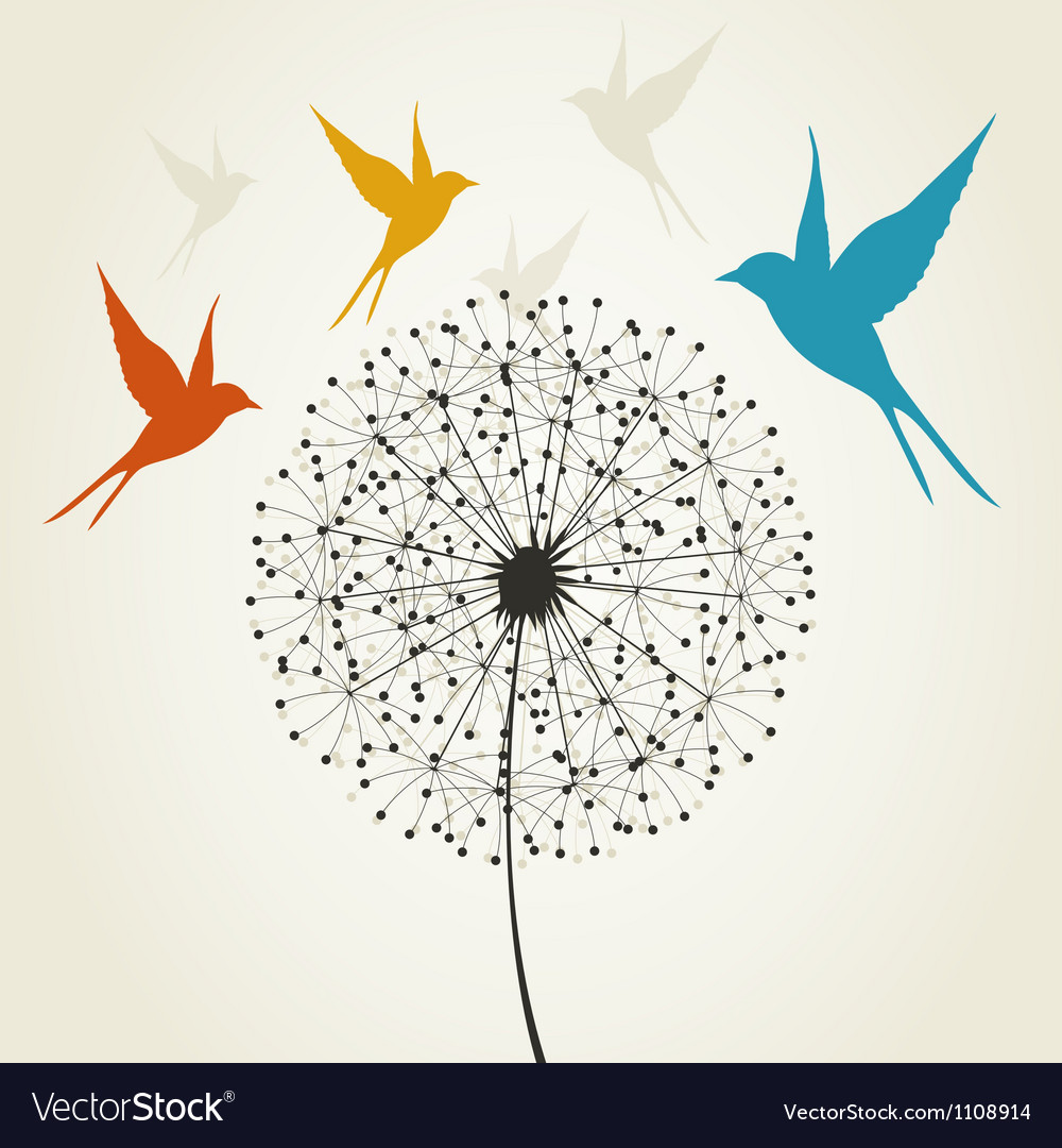 Dandelion and bird vector | Price: 1 Credit (USD $1)