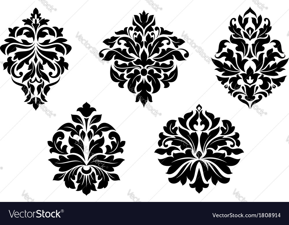 Floral and foliate damask design elements vector | Price: 1 Credit (USD $1)
