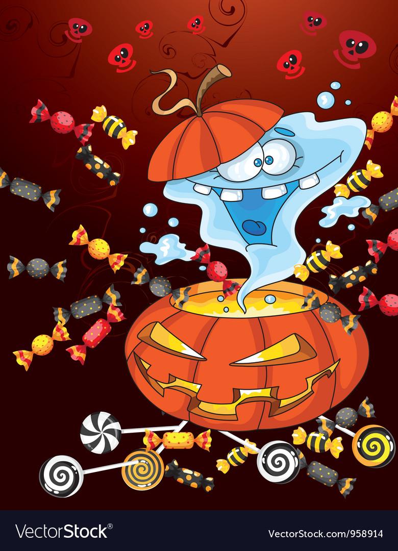 Ghost halloween card vector | Price: 3 Credit (USD $3)