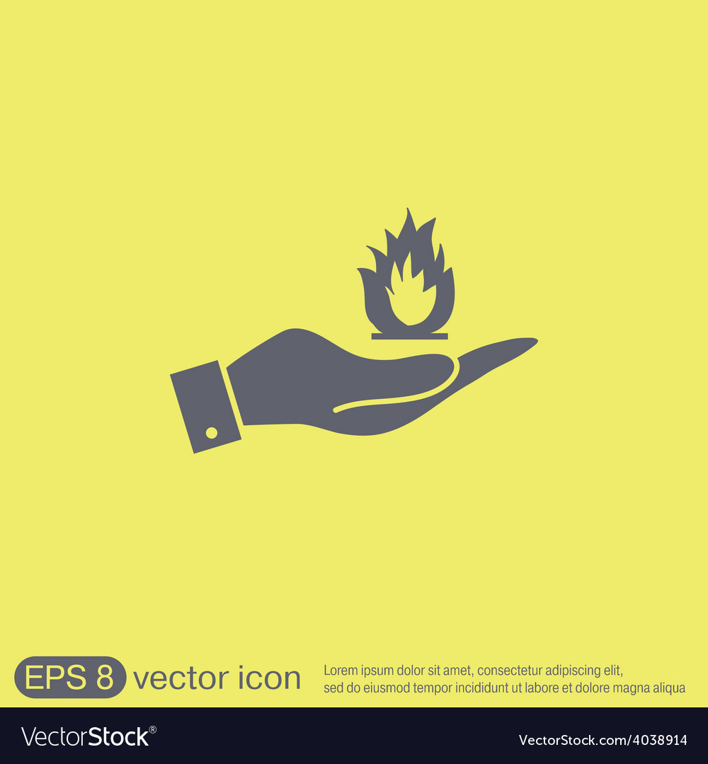 Hand holding a fire sign vector | Price: 1 Credit (USD $1)