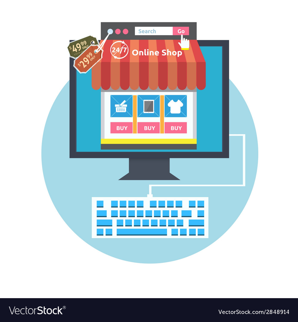 Internet shopping process vector   Price: 1 Credit (USD $1)