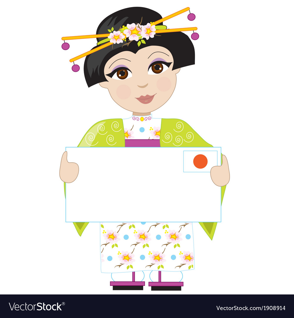 Japan girl sign vector | Price: 1 Credit (USD $1)