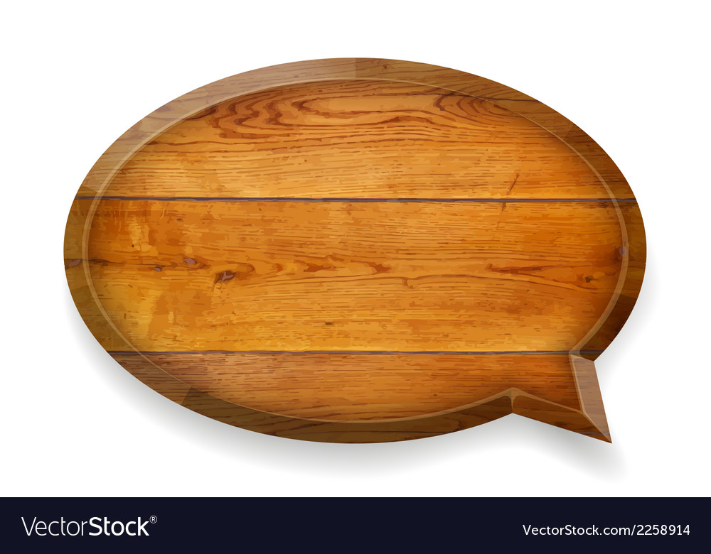Realistic wooden talk bubble vector | Price: 1 Credit (USD $1)