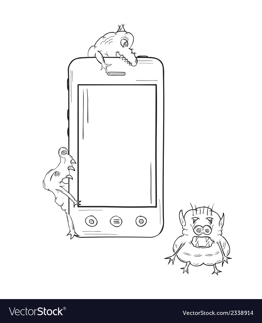 Sketch of the smartphone and viruses vector | Price: 1 Credit (USD $1)