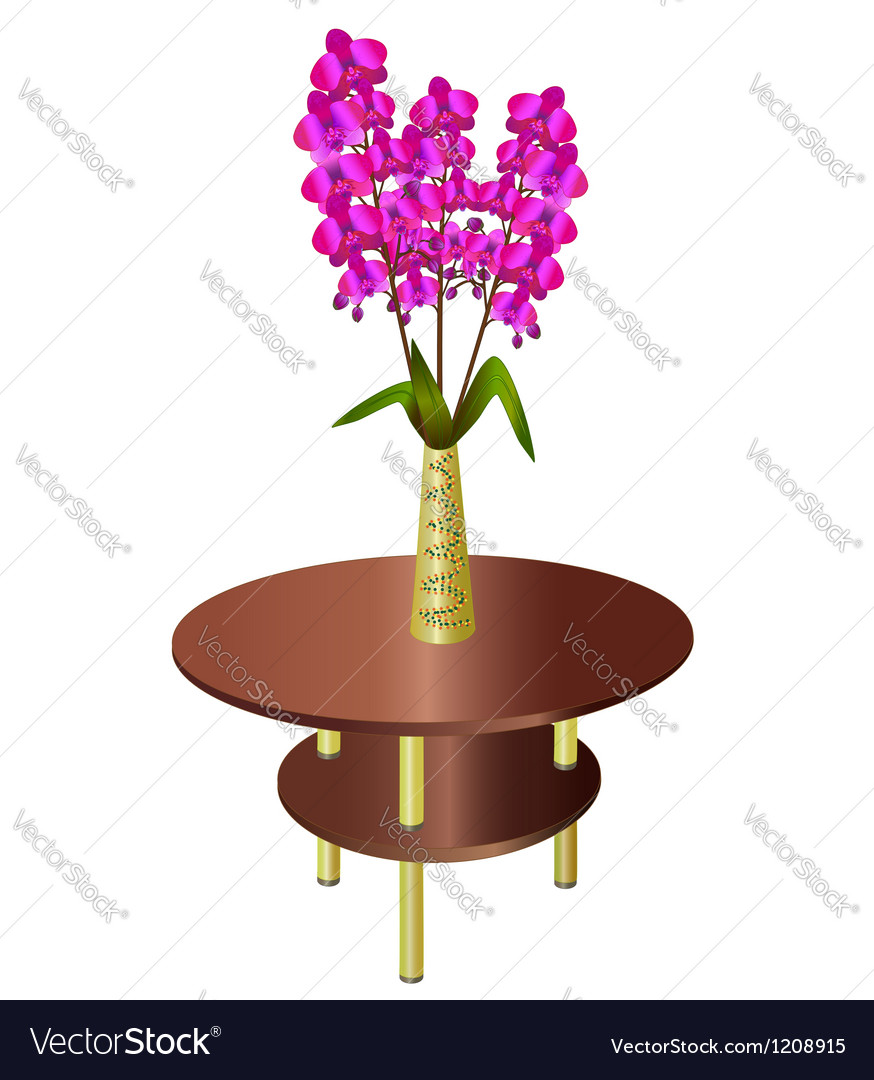 Bouquet of orchids in vase on coffee table vector | Price: 1 Credit (USD $1)