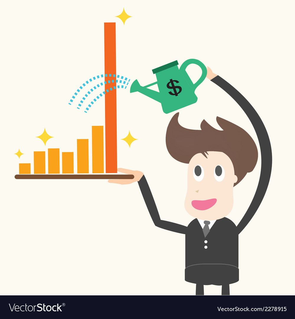 Businessman watering graphbusiness concept vector | Price: 1 Credit (USD $1)