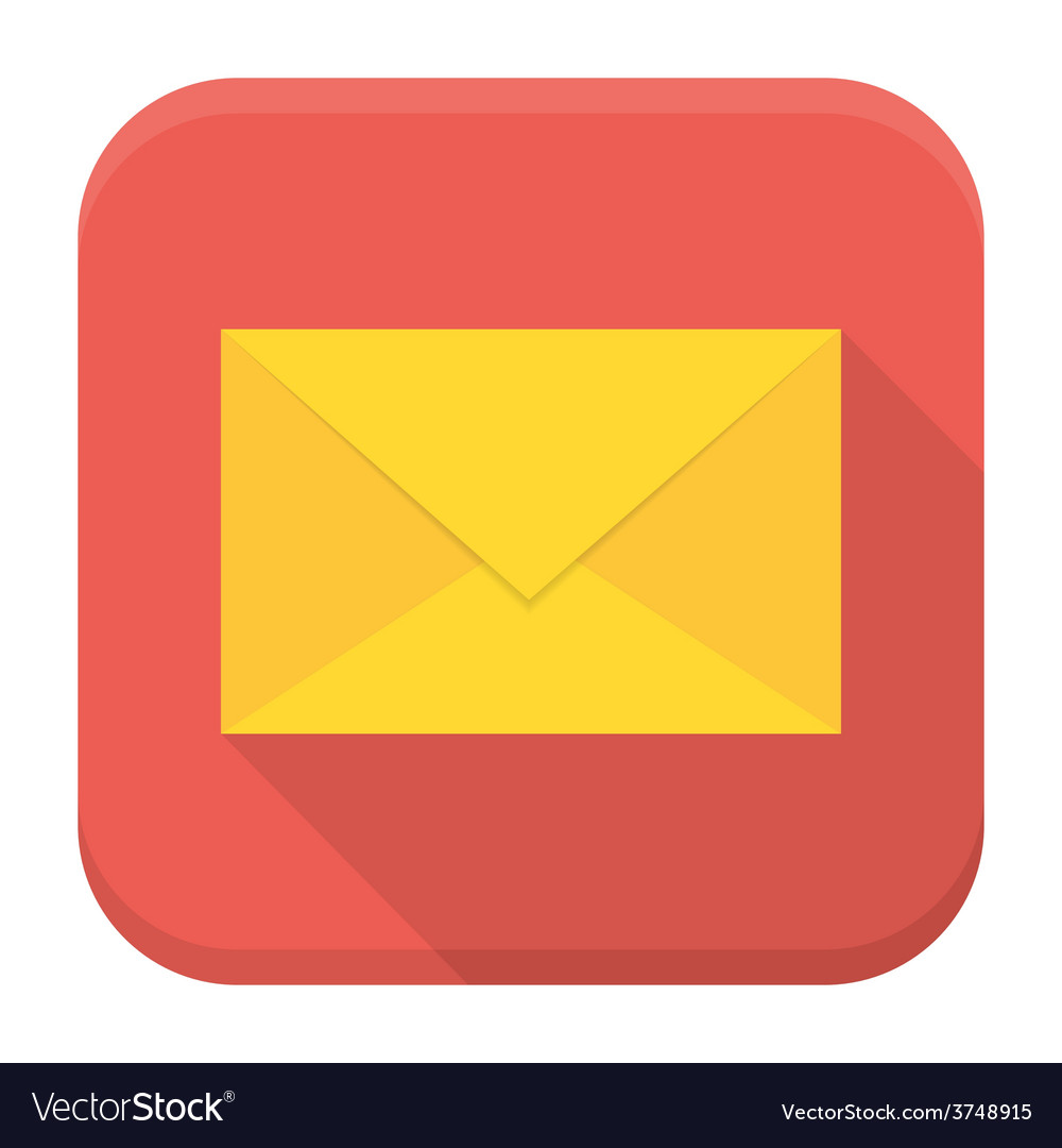 Envelope app icon with long shadow vector | Price: 1 Credit (USD $1)