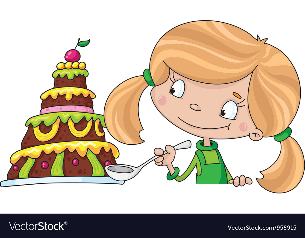 Girl and cake vector   Price: 1 Credit (USD $1)