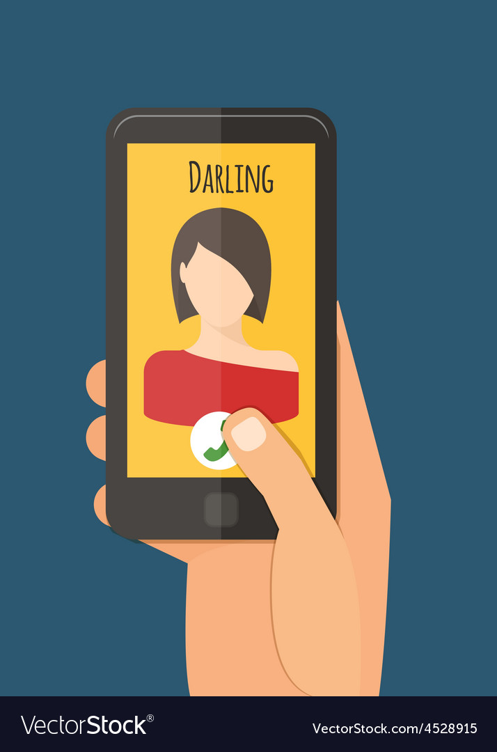 Hand holding mobile calling girlfriend mobile vector | Price: 1 Credit (USD $1)