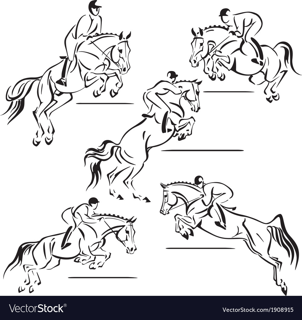 Jumping riders vector | Price: 1 Credit (USD $1)
