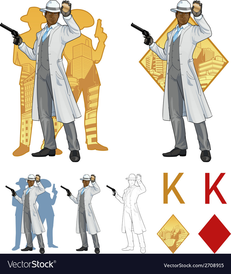 King of diamonds afroamerican police chief and vector | Price: 1 Credit (USD $1)