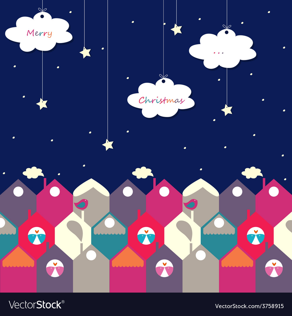 Night christmas city of birds vector | Price: 1 Credit (USD $1)