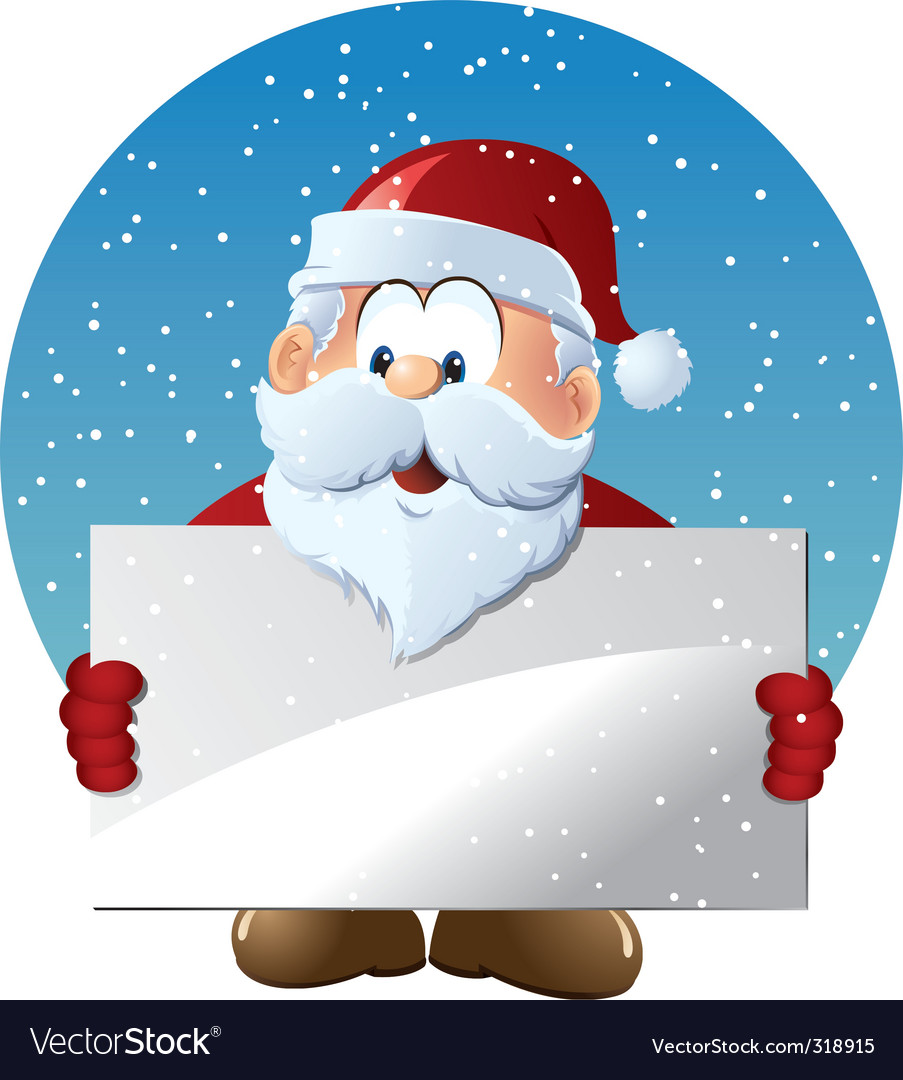 Santa claus holding blank sign vector | Price: 1 Credit (USD $1)