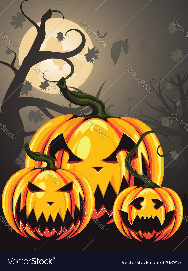 Scary pumpkins in forest2 vector | Price: 1 Credit (USD $1)