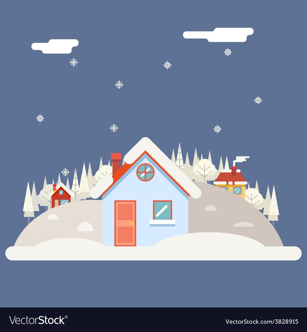 Seasons change winter village hills field vector | Price: 1 Credit (USD $1)