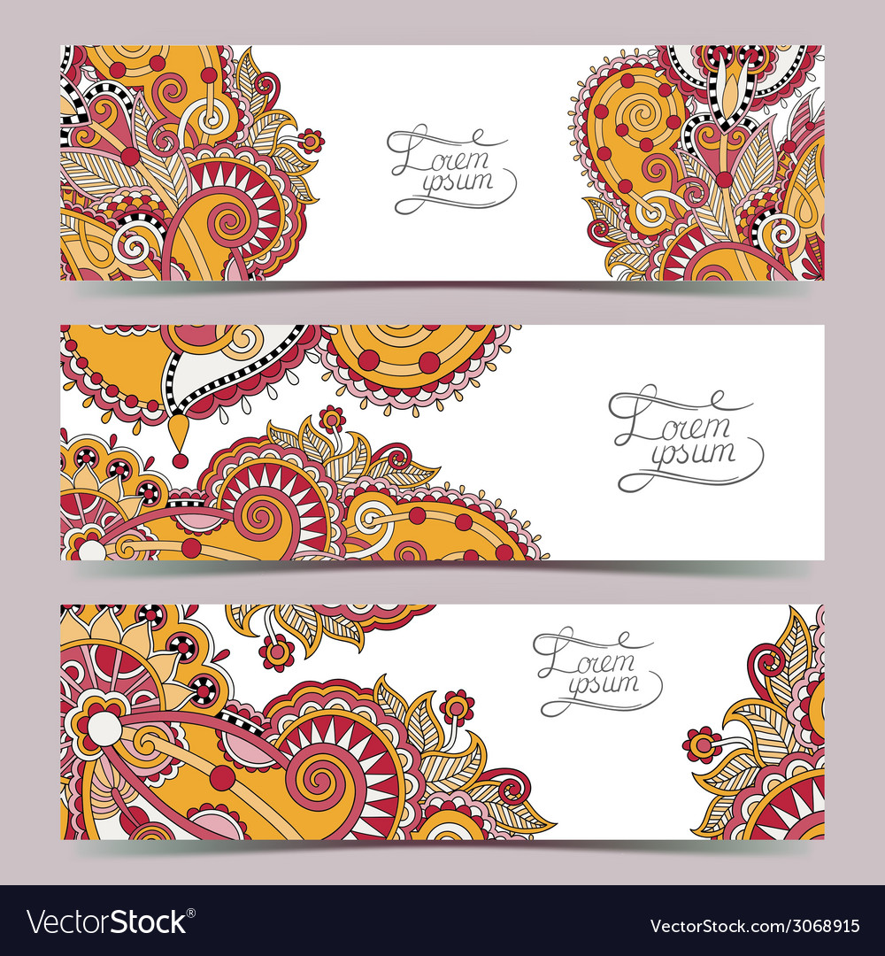 Set of three horizontal banners with decorative vector   Price: 1 Credit (USD $1)