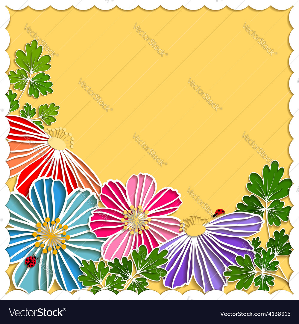 Springtime colorful paper cut flower vector | Price:  Credit (USD $)