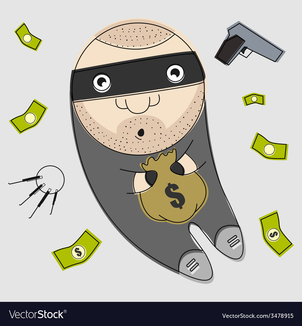 Thief with bag full of money vector | Price: 1 Credit (USD $1)
