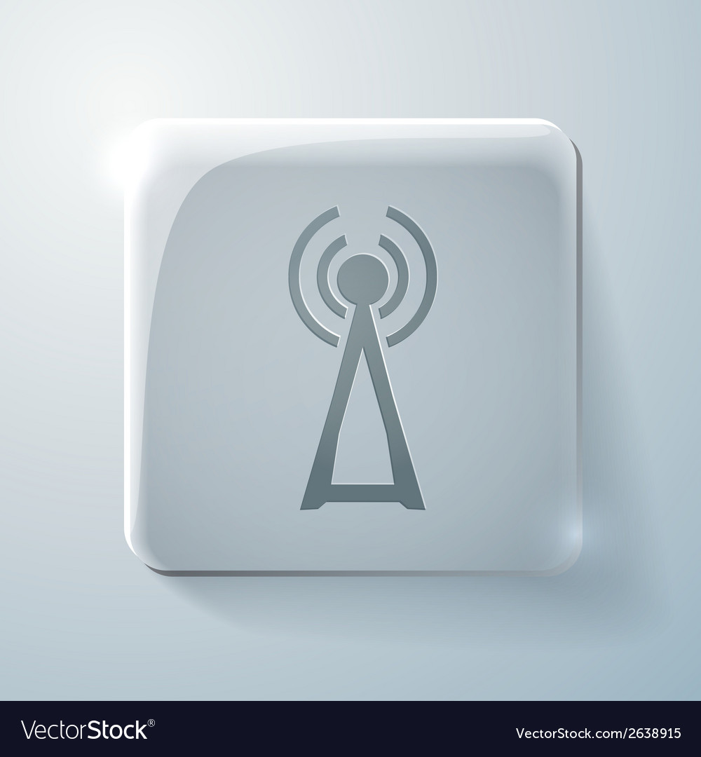 Tower of the wi fi glass square icon vector | Price: 1 Credit (USD $1)