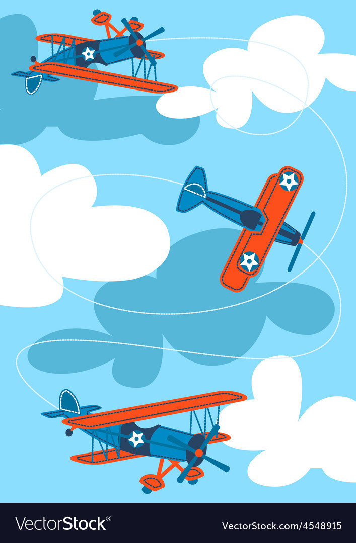 Vintage air planes flying in the sky vector | Price: 1 Credit (USD $1)