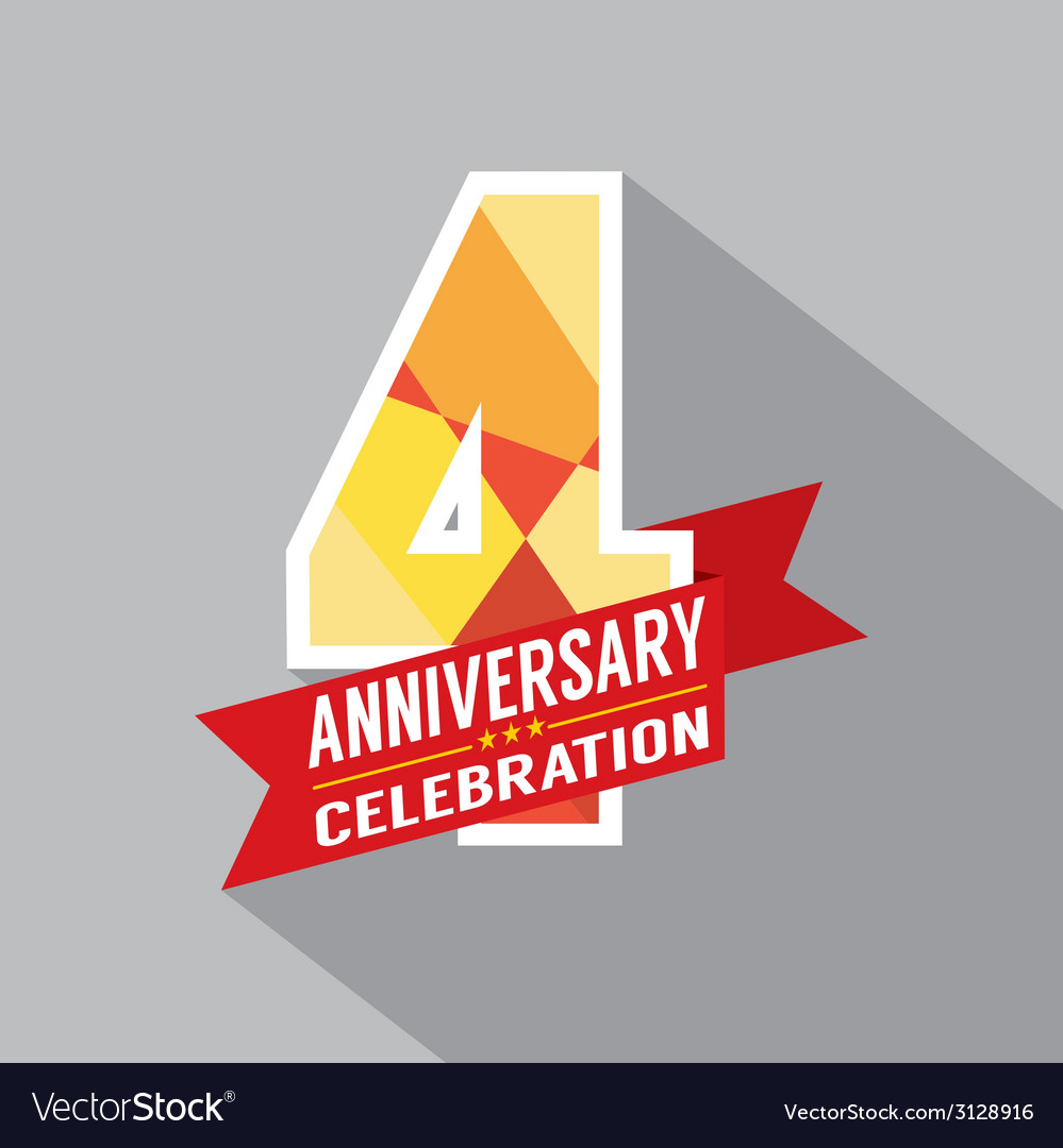 4th years anniversary celebration design vector | Price: 1 Credit (USD $1)
