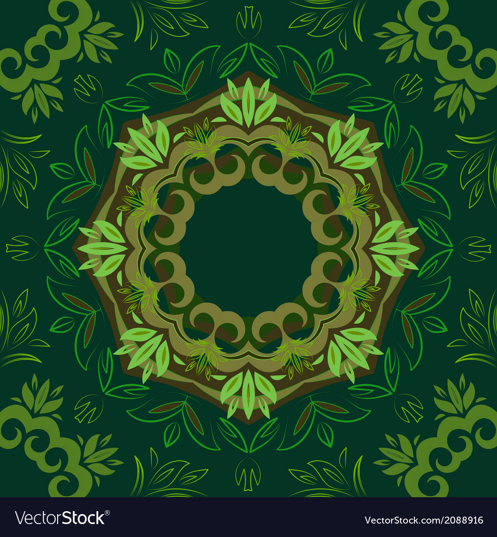 Abstract green floral background with round vector | Price: 1 Credit (USD $1)