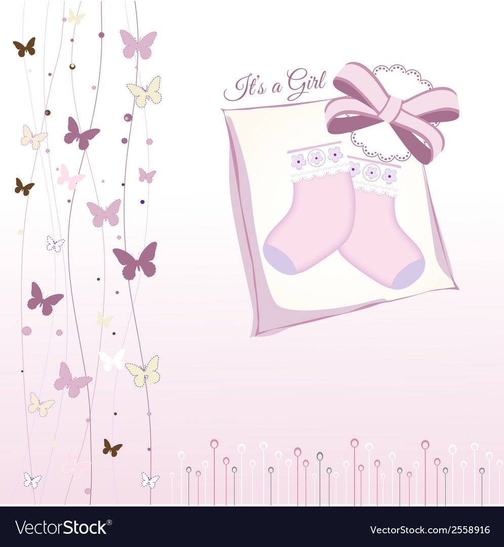 Baby girl announcement vector | Price: 1 Credit (USD $1)