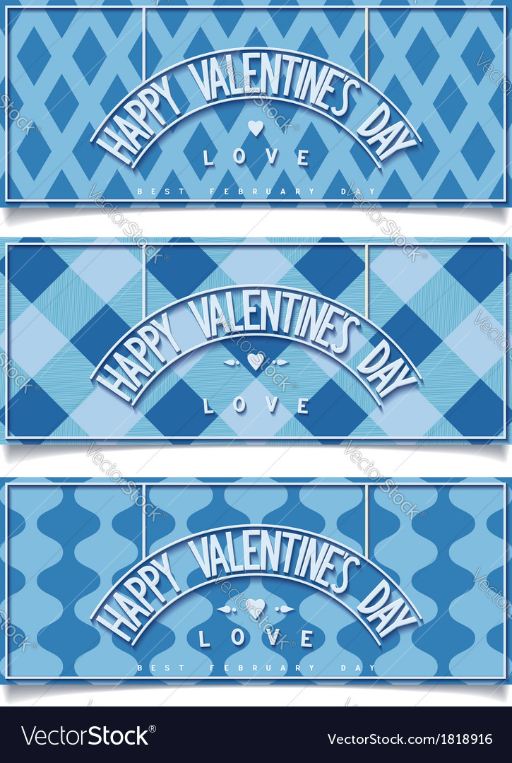 Beautiful happy valentines day banners vector | Price: 1 Credit (USD $1)