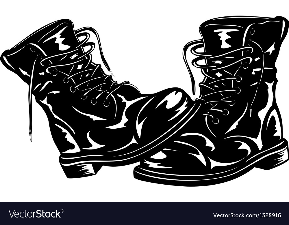 Black army boots vector | Price: 1 Credit (USD $1)