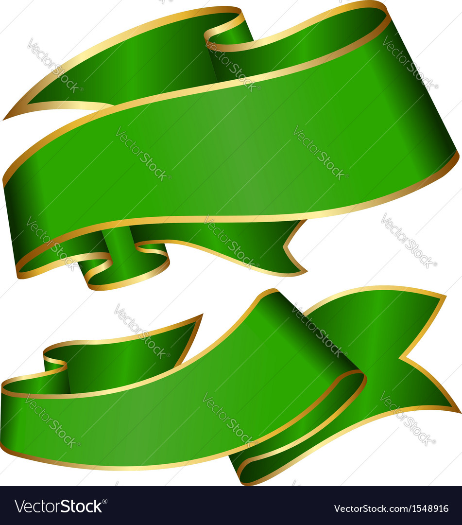 Green ribbon collection isolated on white backgrou vector | Price: 1 Credit (USD $1)