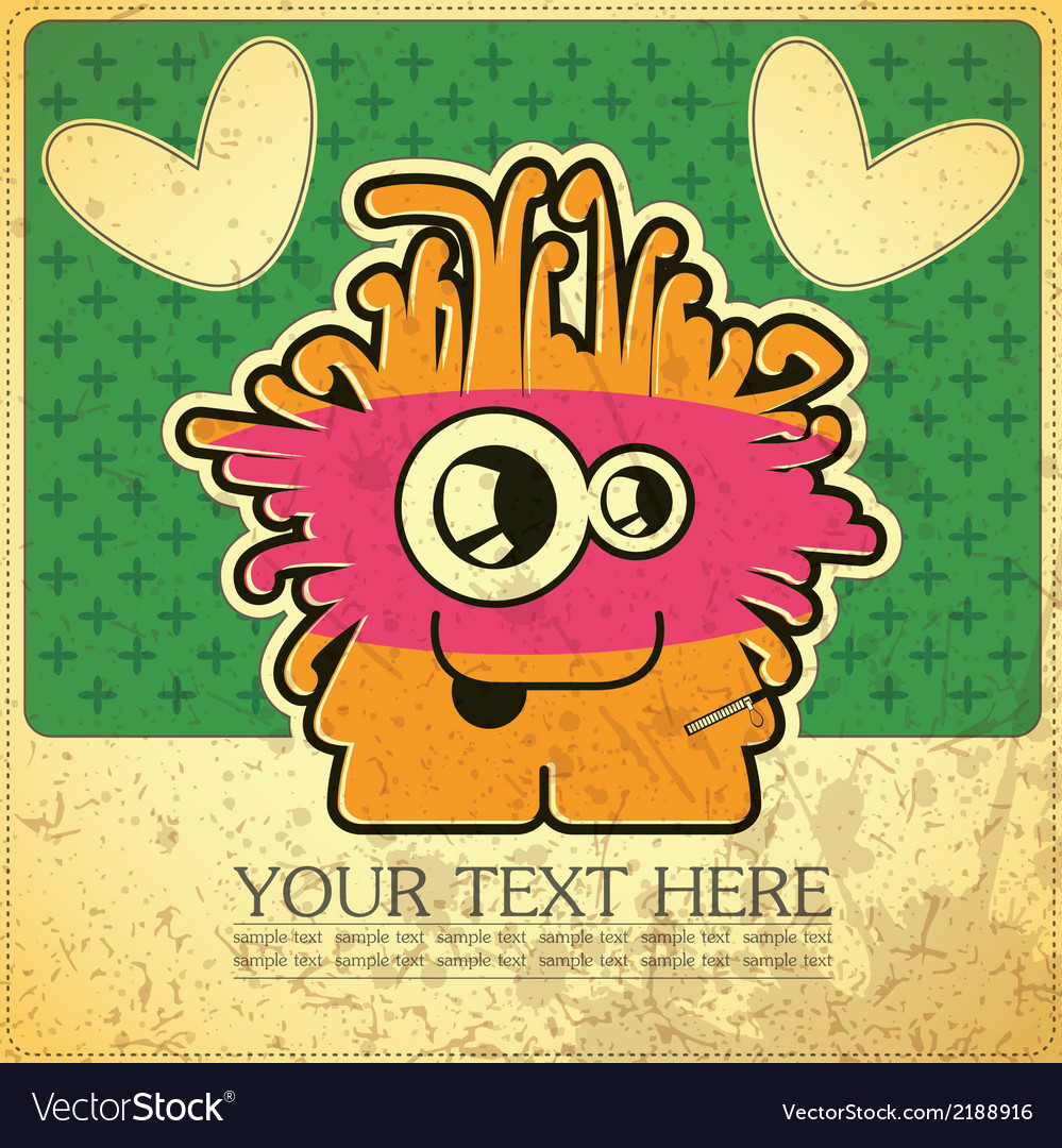 Monster on grunge background vector   Price: 1 Credit (USD $1)