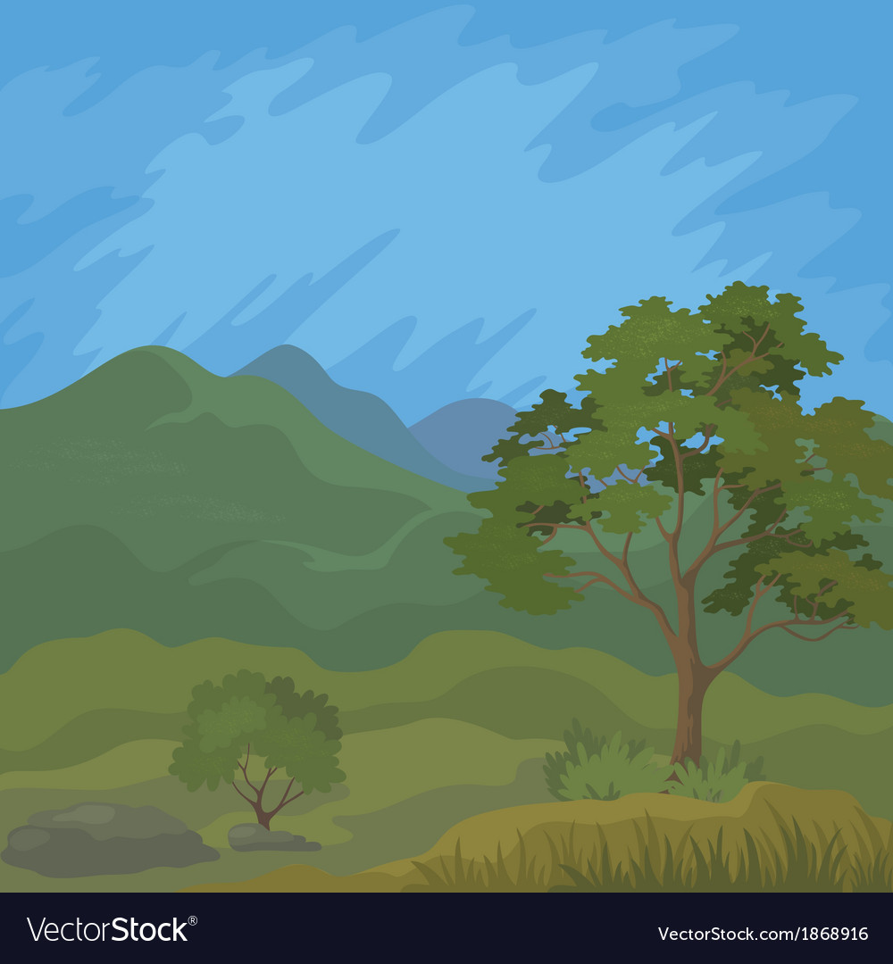 Mountain landscape with tree vector | Price: 1 Credit (USD $1)
