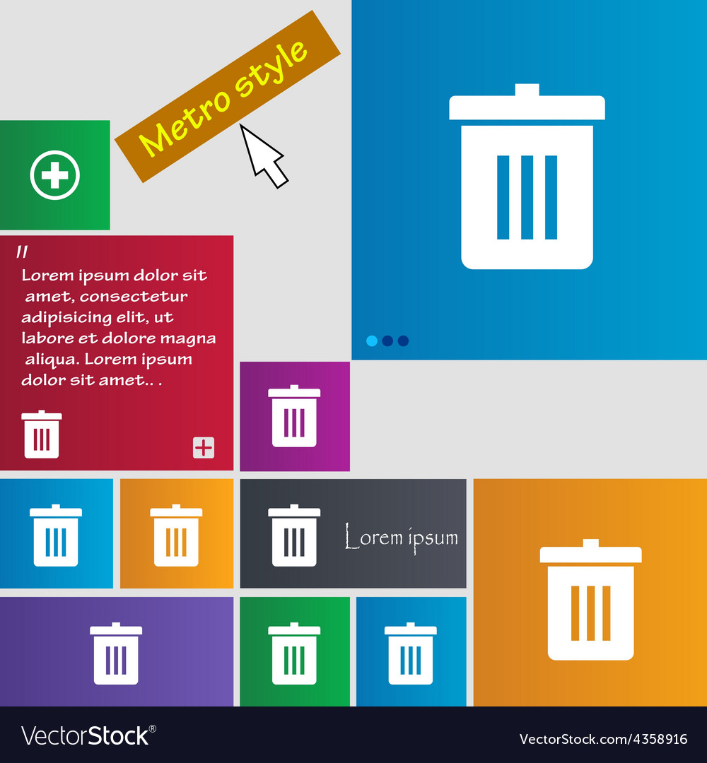 Recycle bin reuse or reduce icon sign metro style vector | Price: 1 Credit (USD $1)