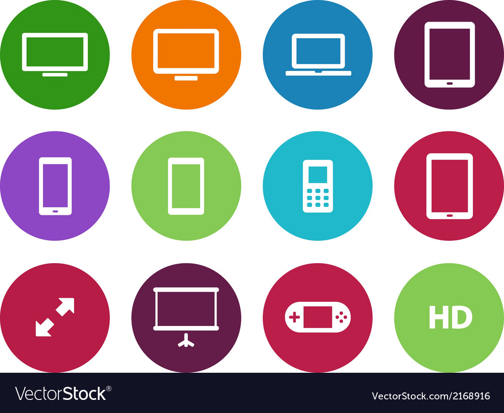 Screens circle icons on white background vector   Price: 1 Credit (USD $1)