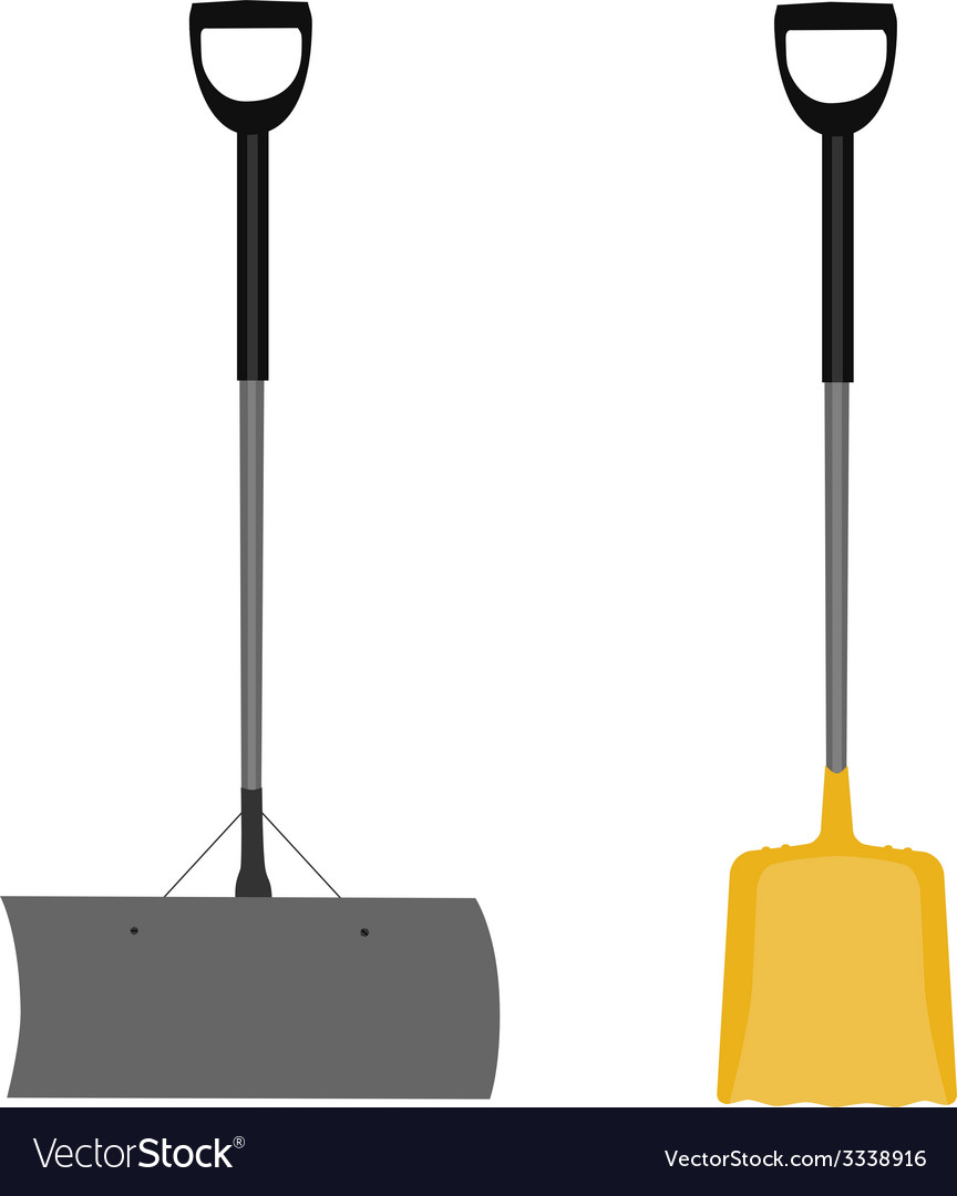 Snow shovel grey and yellow vector | Price: 1 Credit (USD $1)