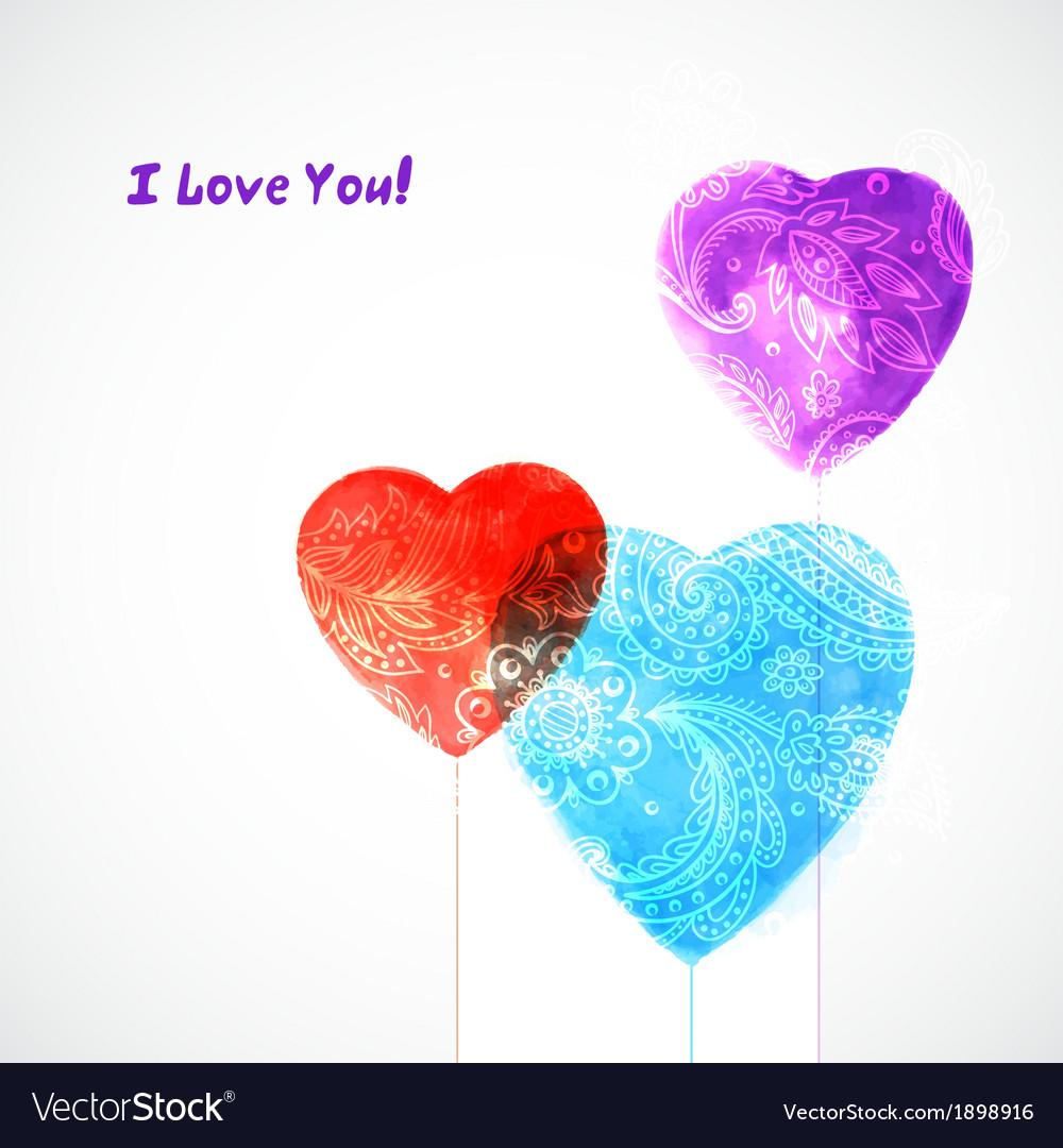 Watercolor beautiful hearts vector | Price: 1 Credit (USD $1)