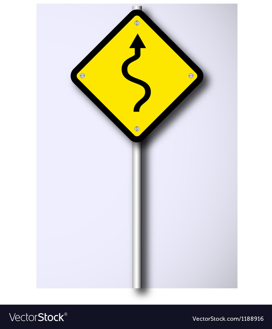 Winding road sign vector | Price: 1 Credit (USD $1)