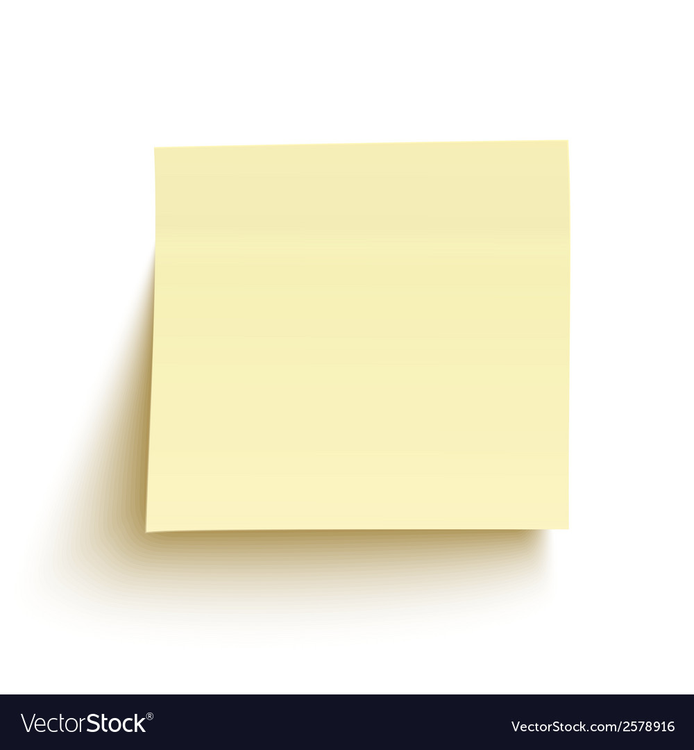 Yellow sticky note isolated on white background vector | Price: 1 Credit (USD $1)