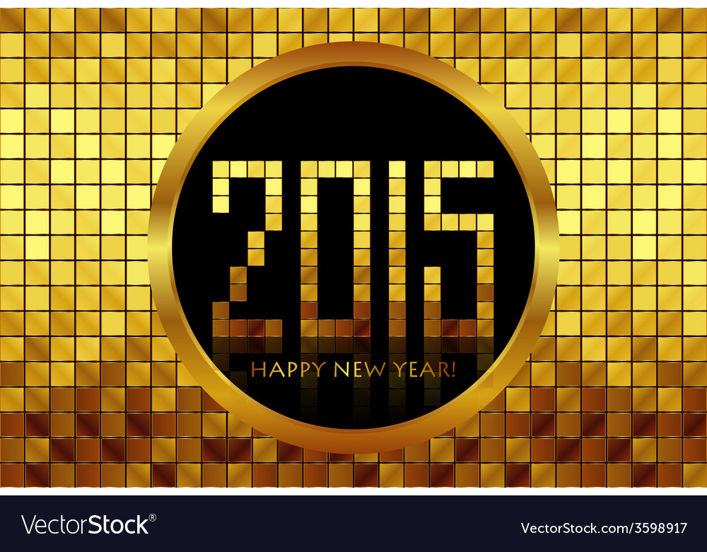 - happy new year 2015 - golden mosaic background vector | Price: 1 Credit (USD $1)