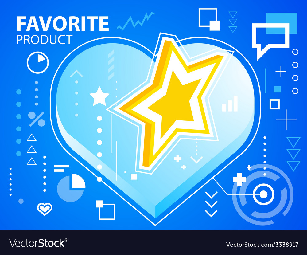 Bright heart and star on blue background for vector | Price: 3 Credit (USD $3)