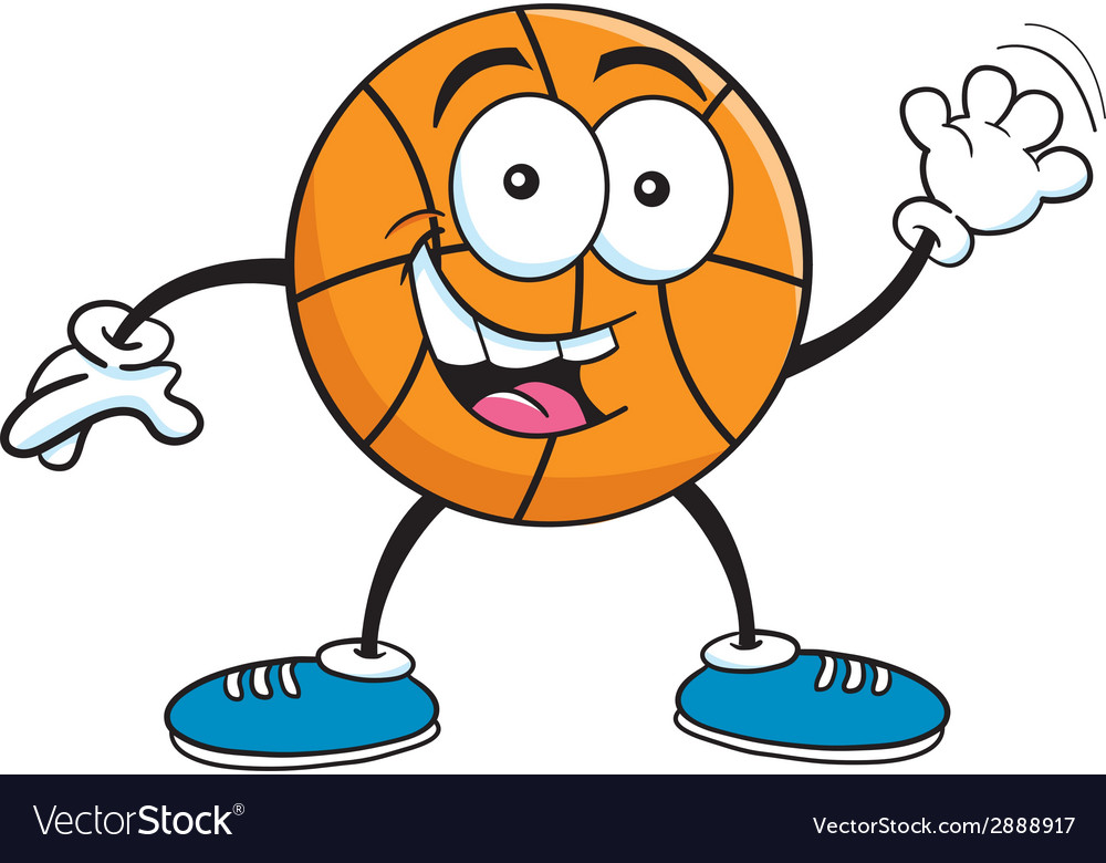Cartoon basketball waving vector | Price: 1 Credit (USD $1)