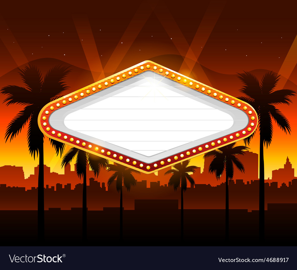 Casino banner with vegas city in background vector | Price: 3 Credit (USD $3)