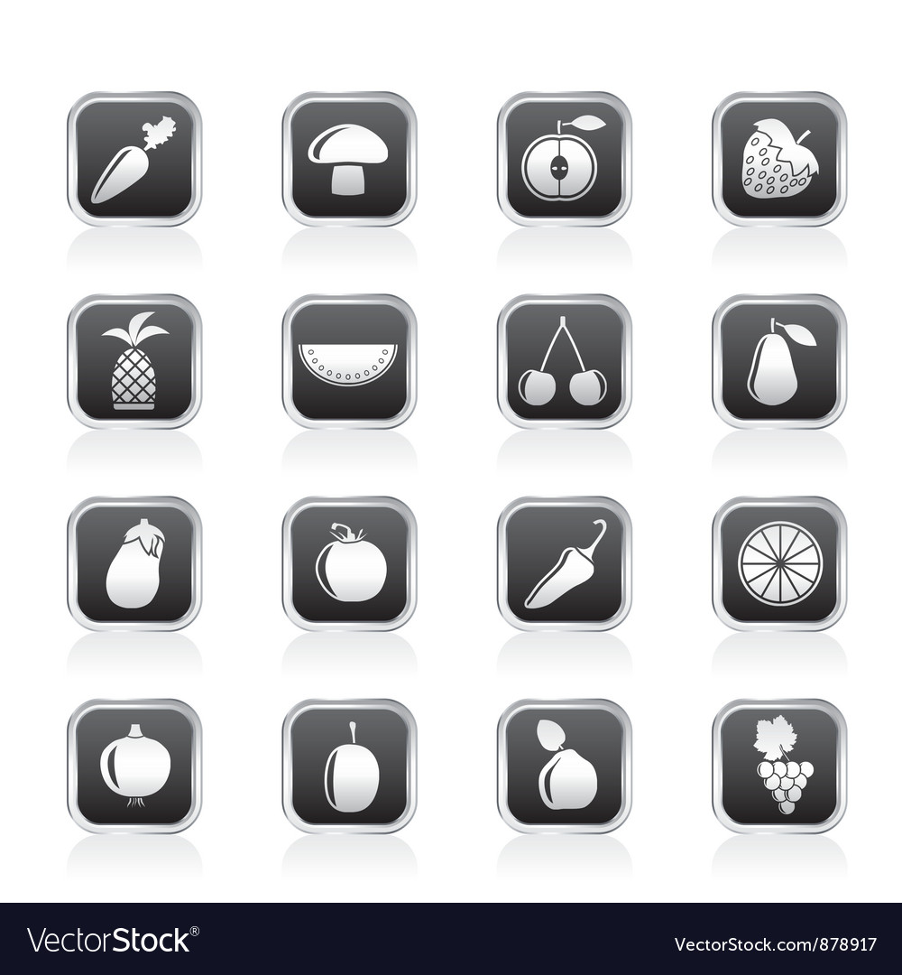 Fruits and vegetable icons vector | Price: 1 Credit (USD $1)