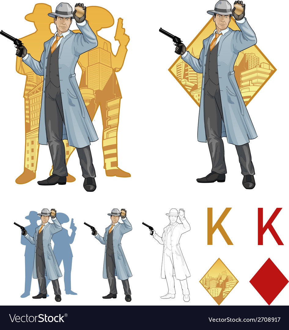 King of diamonds asian police chief and people vector | Price: 1 Credit (USD $1)